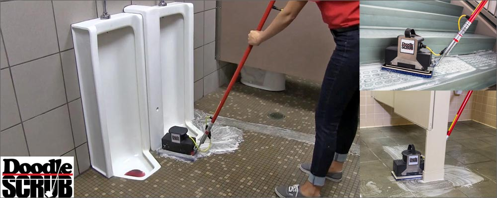 commercial floor cleaning scrubbing machine vct tile grout bathroom stalls toilets toronto gta