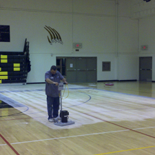 Resurfacing gymnasium floors