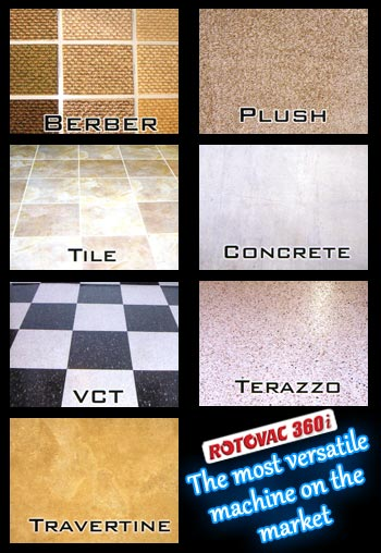 Rotovac 360i Cleans Berber, Plush, Tile, Concrete, VCT, Terazzo, Travertine and more!